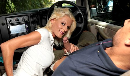 Mature blonde tested the car in all poses